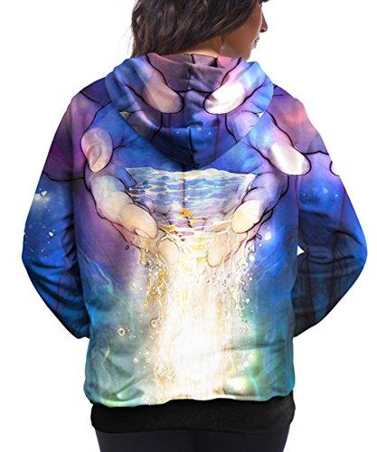 Charmley Femme Sweats à Capuche Pull Unisexe 3D Imprimé Hoodie Avec Pochette Sweatshirt Manches-Longues Sportif Multicolore Casual Pull 1036