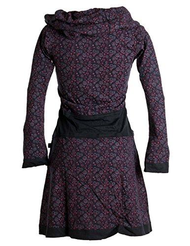 Vishes - Alternative Bekleidung – Bedrucktes Kleid aus Baumwolle mit Schalkragen Schwarz-Rot