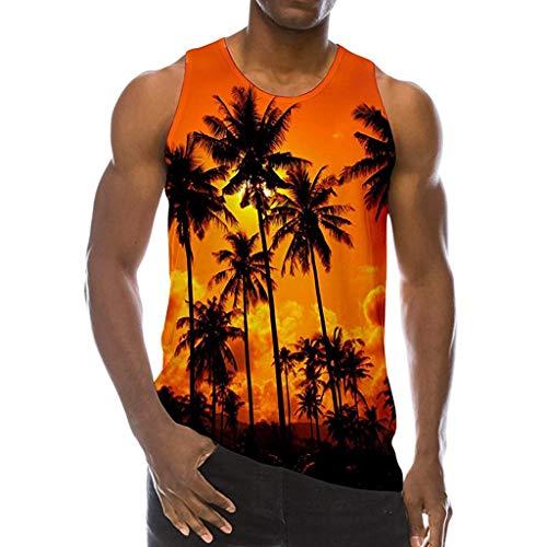 REALIKE Tank Top Herren Männer Mode 3D Druck Tankshirt T-Shirt mit Rundhalsausschnitt mit Überall Muster Unterhemden Männer Ärmellos Weste Muskelshirt Fitness Oberteile