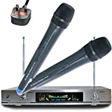 Comtechlogic® AK-8600 VHF Wireless Cordless DJ Karaoke Public Address PA Mic Microphone System with Digital LCD display