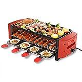Raclette Grill | Parrilla eléctrica de 3 Pisos 6/8 Mini Sartenes Ciclo térmico • Control de Calor termostático Inteligente Red 260 ° C | Gran Superficie de cocción Antiadherente con estrías | 2100W