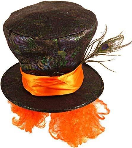 Fancy Me Herren Damen Schwarz Verrückter Hutmacher Alice Im Wunderland Feder Kostüm Teeparty Kostüm Outfit Hut Zubehör - One ()