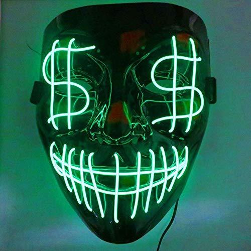 TUANMEIFADONGJI Leuchtmaske LED Kaltlicht Maske Mit 4 Modi Veränderbar EL Kaltlicht Gruselige Maske Für Halloween Karneval Kostümpartys Maskerade Karneval (Alte Kostüm Mit Kunststoff Maske)