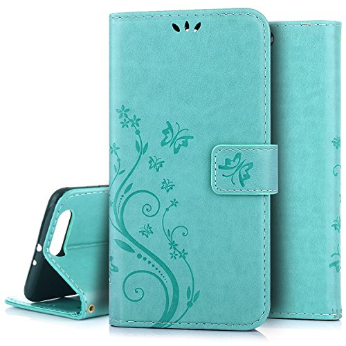 Custodia Huawei P10 plus,Case Cover per Huawei P10 plus, Ukayfe Luxury Puro Colore Modello Goffratura Vines Fiore e Farfalla Cristallo 3D Design Bumper Slim Folio Protectiva Lussuosa Custodia Cover [PU Leather] [Shock-Absorption] Protettiva Portafoglio Cover Custodia con Super Sottile Trasparente TPU Interno Case e Porta carte di credito Portafoglio Custodia Protettiva Cover Copertura Tutta Potente per Huawei P10 plus-Verde 1#