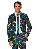 Suitmeister Faschingskostüme für Herren - Mit Jackett, Hose und Krawatte mit Festlichen Print, Floral XL