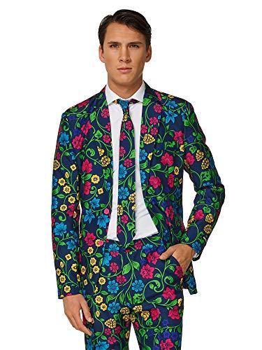 Suitmeister Faschingskostüme für Herren - Mit Jackett, Hose und Krawatte mit Festlichen Print, Floral XXL (Für Blume Erwachsene Halloween-kostüme)