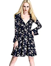 Womdee Women Summer Sexy Deep V-neck Long Sleeve Floral Print Casual Mini Dress
