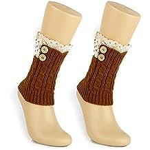 tininna Mujeres Crochet Tejer Invierno Botas Heavyweight calcetín Punta corta de botones calentadores café