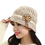 Kingko® Fashion Women Lady Winter Warm Crochet Knitted Hat Flower Decoration Winter Hat Warm Cap to Protect Head and Ears (Beige)