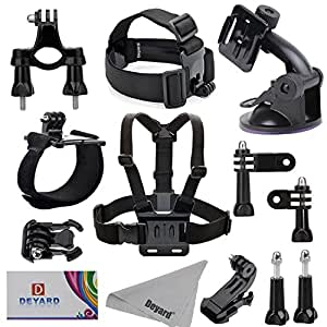 DEYARD ZG-635 5in1 GoPro Accessories Kit for GoPro Hero5 Session Hero Session Hero 5 3+ 3 2 & Hero 4 Silver Black Edition Also for YI Action Camera SJ4000 SJ5000