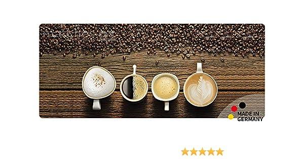Teppichläufer Küchenläufer KAFFEE Kaffetassen Bohnen 50x120x0,4 cm waschbar