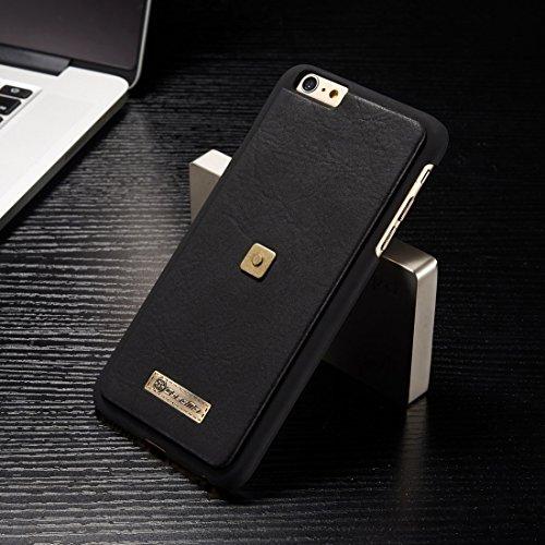Phone case & Hülle Für iPhone 6 Plus & 6s Plus Multifunktions Ledertasche mit abnehmbarem Magnetic PC Back Schutzhülle & 4 Card Slots & 2 Cash Slots & 1 Zipper Wallet & 1 Foto Frames & 1 Haken ( Color Black