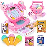 Hokly Pretend Gift Set, Kids Toy Supermarket Till Cash Register, Shop Till Role Play Fun Playset for Kids Boys Girls Age 3 years and up (with Shopping Cart) (Rosa)
