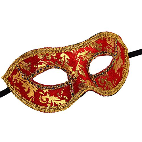 Maske Gold und Rot, bestickt, venezianischen Maskerade Kostüm - Inspiriert von 50 Grautönen - noch dunkler (Dunkle Maskerade Kostüm)
