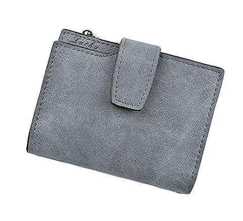 Ylen Vintage Portemonnaie mit Reißverschluss Leder Geldbeutel Frauen Kurze Münze Geldbörse Tasche Kartenhalter