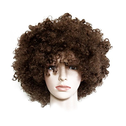 Peluca marrón Afro, peluca de explosión, disfraz de hippie, peluca p