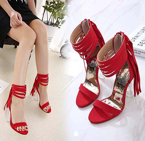 11CM Trasparente Cristallo Tacchi alti Nappa sandali Donne Moda Open-Toed Cerniera Nappa Cinturino alla caviglia sandali Scarpe da sera Dimensioni Eu 34-40 red