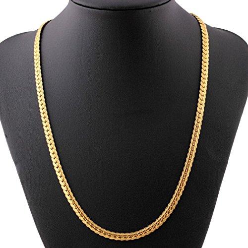 Halsketten, Voberry Männer Frauen Mode Luxus gefüllt Bordstein Cuban Link Gold Halskette Schmuck Kette (C) (Gold Gefüllt Kette)
