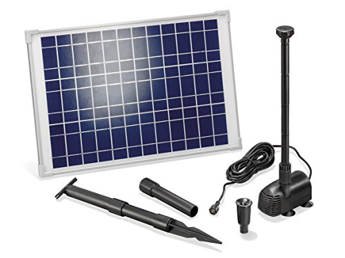 Solar Teichpumpe 20 Watt Solarmodul 1350 l/h Förderleistung 1,9 m Förderhöhe Komplettset Gartenteich, 101014 -