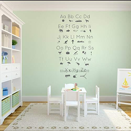 Qsdfcc ABC Alphabet Bild Icons Shilouettes Wandtattoo Kinderzimmer Kunst Vinyl Wohnkultur Kinderunterricht Tapeten 42cx73cm (Um Abc Halloween)