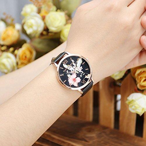 JSDDE Uhren,Vintage Klassische Blumen Damen Armbanduhr Basel-Stil Quarzuhr PU Lederband Rosegold Analog Quarzuhr(Schwarz) - 3