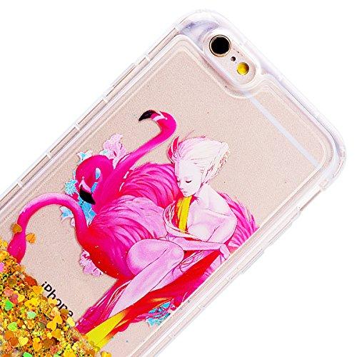 GrandEver Coque iPhone 6s Plus / iPhone 6 Plus, 3D Liquide Silicone Transparente Paillettes Souple Flexible Etui Bling Glitter Sable Rigide Back Cover Case Anti-Choc Anti Rayures Housse pour iPhone 6  Flamant Rose B