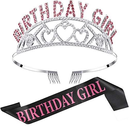 Chengu Geburtstag Mädchen Glitter Krone Strass Kristall Dekor Stirnband mit Geburtstag Mädchen Schärpe (Rosa)