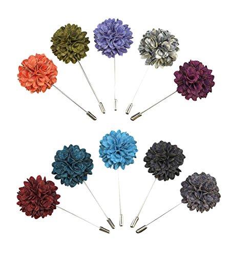 Soleebee YM025 Ansteckblumen Gemischt zufällig Herren Handgefertigt Revers Pin Blume Set im Knopfloch Schläger Revers Krawatte Brosche Blume Boutonniere für Anzug (zufällig 9 Stück)