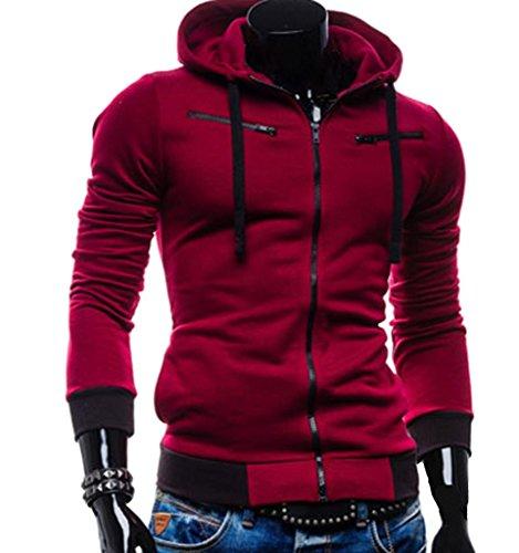 weiyi H135Herren Jacke Casual Fleece Full Zip Hoodie, Herren, weinrot Athletic Zip-front Sweatshirt
