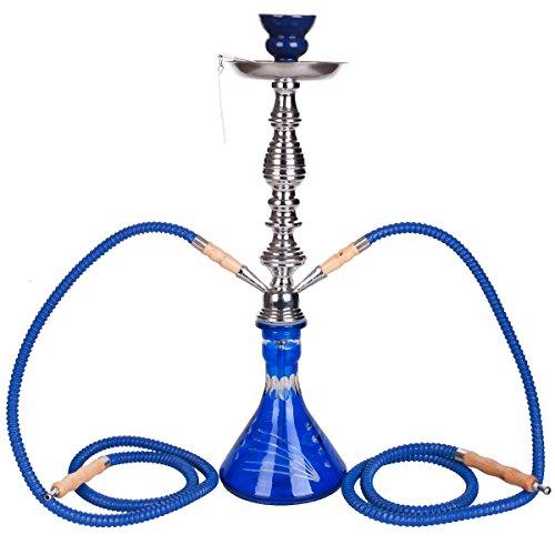 DXP Wasserpfeife Shisha Hookah Mit 2 Schläuchen Ca.53cm Inkl. Kohlezange Zubehör NEU Händler Blau