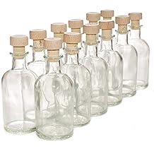 Pack de 12 botellas de cristal italiano - Con tapones de corcho y madera - 100