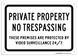 eugene49mor Private Property No Trespassing These Premises sind durch Videoüberwachung 24/7 Blechschild – 25,4 x 35,6 cm – 0,055 Heavy Duty Kunststoff – Made in USA – UV-geschützt und Wetterfest – A82–388pl