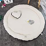 Süß Weich Kind Baby Mädchen Damen Krabbeldecken| Spielbögen| Spielmatte| Spielteppiche Mit 1 Herzförmiges Kissen (Weiß(Lammfell))