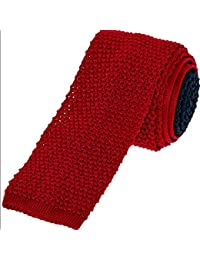 Duchamp Navy And Red Knitted Silk Tie