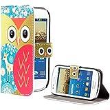 deinPhone AR-230213 Étui de protection à rabat en cuir pour Samsung Galaxy S3 Mini Motif chouette Rouge
