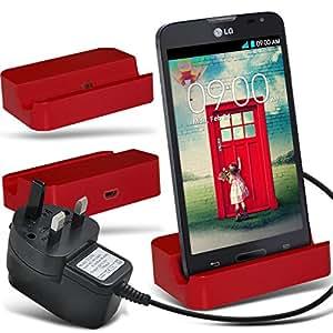 (Red)LG L90 D405 Micro-USB-Desktop-Ladestation stehen Mount & Micro USB CE-Zulassung UK 3 Pin Netz Reise-Ladegerät By Fone-Case