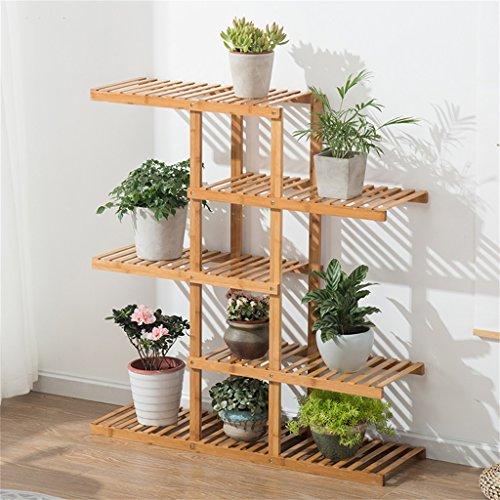 JIA JIA HOME-Intérieur/extérieur Étagères 5 niveaux échelles fleur supports avec bambou - intérieur/extérieur jardin escaliers plantes Pots présentoir support de stockage étagère de coin pour salon