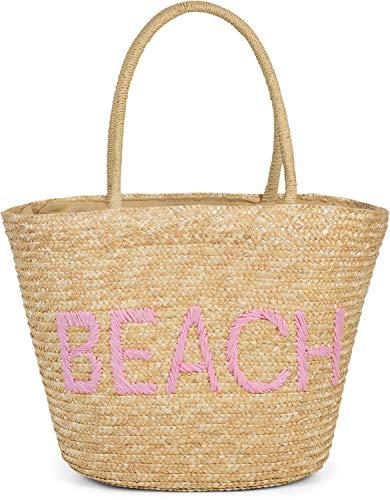 styleBREAKER Damen Korbtasche mit Reißverschluss und gesticktem Beach Spruch, Strandtasche, Strandkorb geflochten 02012289, Farbe:Braun-Rosa