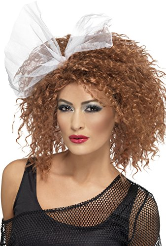 Smiffy's 80's Wild Child Wig Curly with Bow - Brown