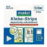 Mako Klebe Strips Pads beidseitig stark klebend weiß 12x25 mm 32 Stk.