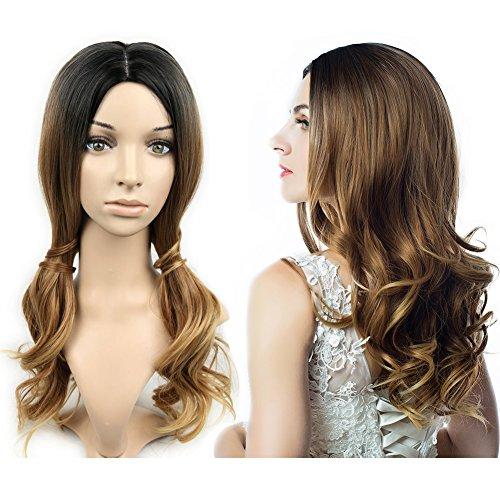 Hanne - parrucca intera da donna in capelli sintetici, lunghi e ondulati, resistente al calore, adatta per feste e cosplay, colore con effetto ombreggiato