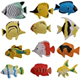 Plastic Model Fish Toy Set of 12pcs Colorful