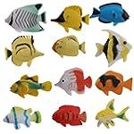 Plastic Model Fish Toy Set of 12pcs C...