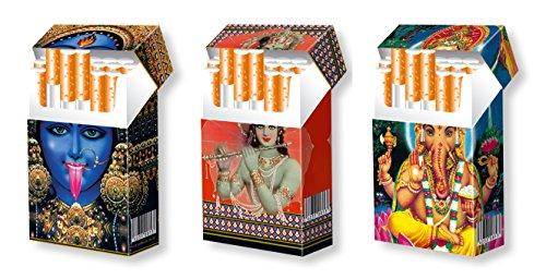 slipp overall - 3er SET - Designs: KALI   KRISHNA   GANESHA - Zigarettenschachtel Überzieher Hülle aus Karton - komplette Box mit Deckel - Standardgröße für die meisten L-Schachteln (näheres zur Größe s. Produktbeschreibung)