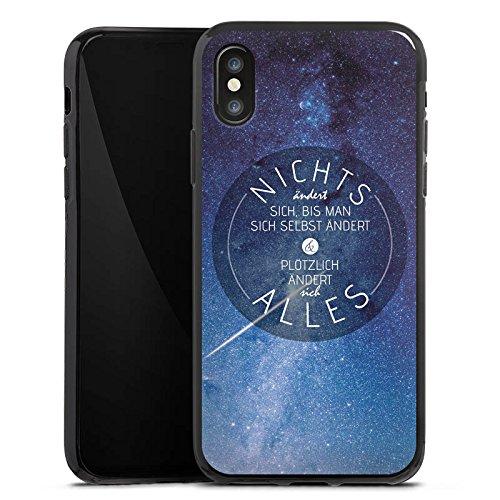 Apple iPhone X Silikon Hülle Case Schutzhülle Leben Motivation Weisheit Silikon Case schwarz