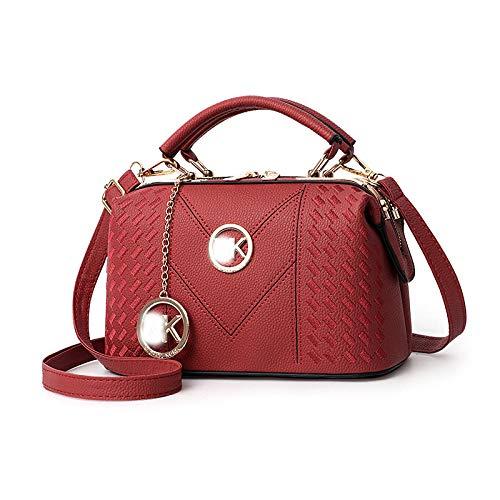 Fyyzg Mode lässig Handtasche Frau Tasche Coole Mode lässig geschlungen - K Stahl Weinrot (Handtasche Frau Mk)