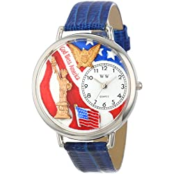 Whimsical Watches July 4Th Patriotic Royal Blue Leather and Silvertone Unisex Quartz Watch with White Dial Analogue Display and Multicolour Leather Strap U-1220022