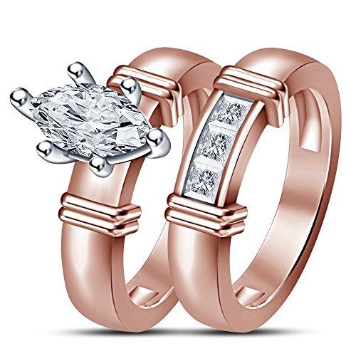 925 plata Vorra de 14 K chapado en oro rosa CZ cuchufleta anillo de bodas para mujeres