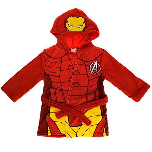 Iron Man Marvel Avengers Kinder Mit Kapuze Fleece Bademantel Bademantel - Rot, 92-98