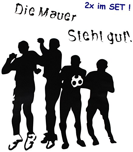 alles-meine.de GmbH 10 TLG. Set _ große _ Fensterbilder -  Fußball - Die Mauer Steht gut !  - Sticker Fenstersticker Aufkleber - selbstklebend + wiederverwendbar - Fensterbild ..